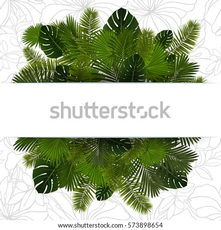 Illustration of various palm leaves with horizontal banner and floral background