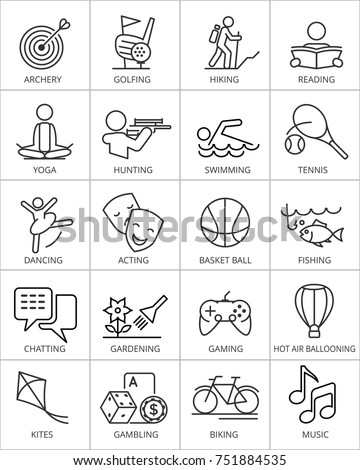 Illustration of 20 vector hobby icons.