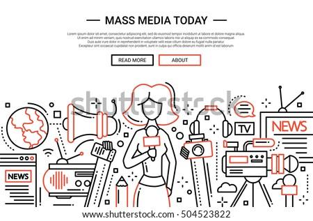 Illustration of vector modern simple line flat design website banner, header with a journalist girl and mass media symbols