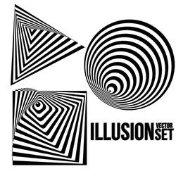Illustration of Vector Optical Illusion. Optical Illusion Cone. Optical Illusion Triangle. Optical Illusion Square. Black and White Spiral Optical Illusion.