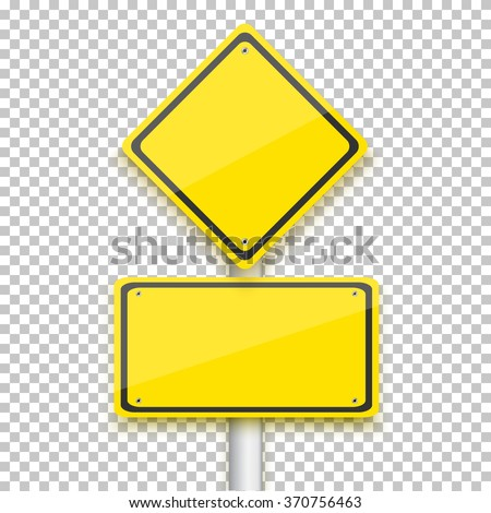 Illustration of Vector Road Yellow Sign. Realistic Vector EPS10 Isolated Road Sign stock photo