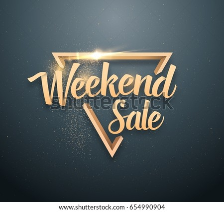 Illustration of Vector Sale Banner Sticker Template. Weekend Sale Lettering with Gold Glitter Effect