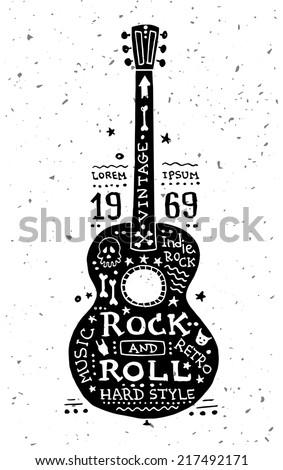 Illustration of vector vintage grunge label with guitar
