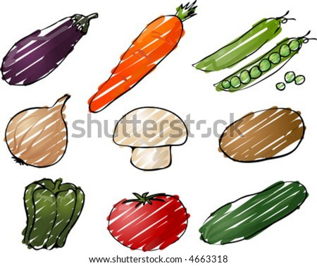 Illustration of vegetables, hand-drawn look rough coloring: eggplant, carrot, peas, onion, mushroom, potato, pepper, tomato, cucumber