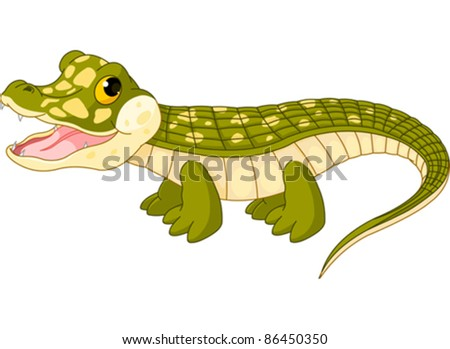 Cute baby alligator drawing
