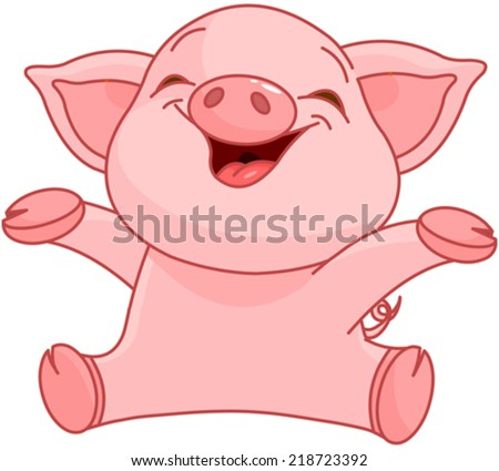 illustration of very cute piggy
