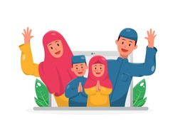 Illustration of video call happy muslim family celebrating eid holiday