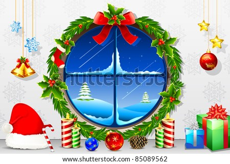 illustration of view of christmas night through decorated window
