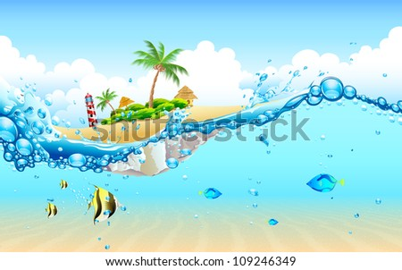 illustration of view of island from underwater