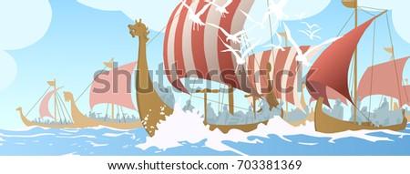 illustration of viking ships