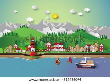 illustration of village and sea