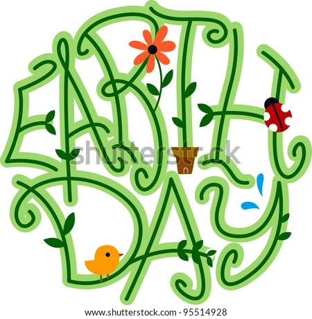Illustration of Vines Forming the Word Earth Day - stock vector