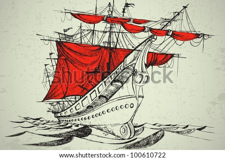 illustration of vintage boat with red cloth