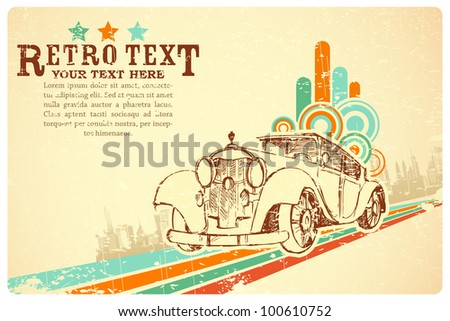 illustration of vintage car on colorful retro background