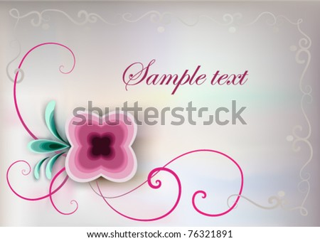 illustration of vintage floral card with pink flower and place for text : vector background