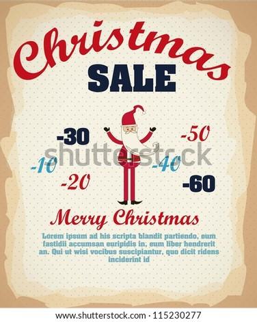 Illustration of Vintage Poster Art, christmas sale, vector illustration