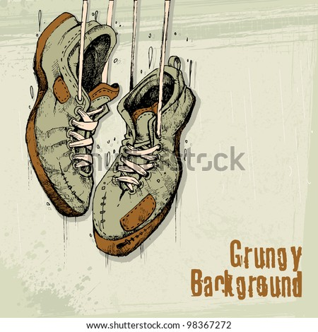 illustration of vintage shoe hanging on grungy background