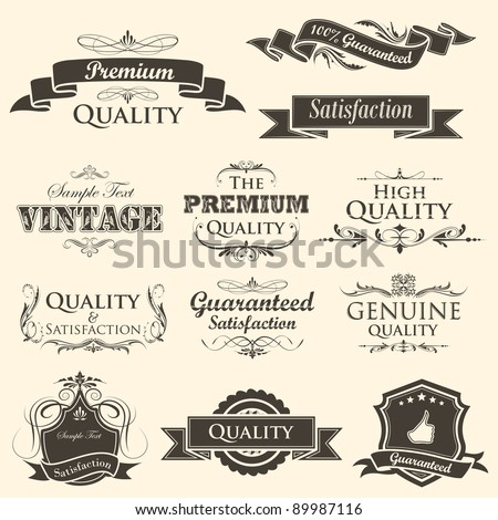 illustration of vintage styled high quality and satisfaction guarantee label