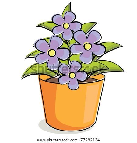 Illustration of violet flowers in pot