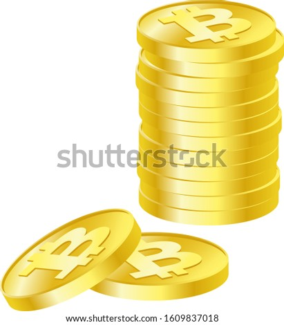 Illustration of virtual currency bitcoin. Virtual currency, or virtual currency, is a currency distributed on a network. Lots of coins stacked.