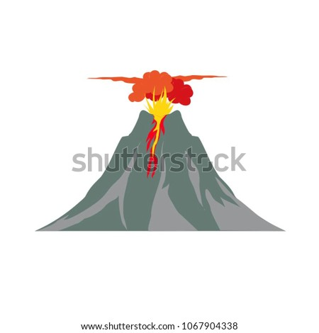 illustration of volcano with