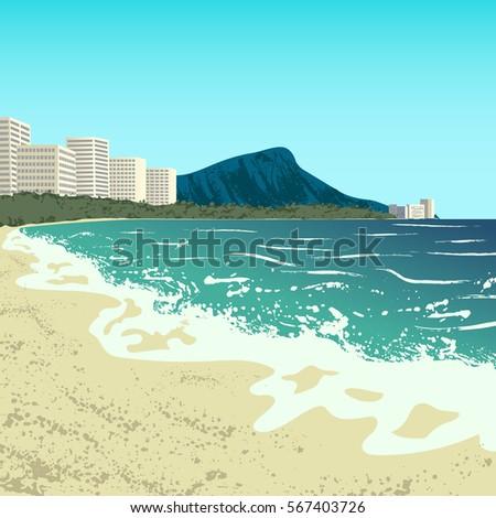 illustration of waikiki beach