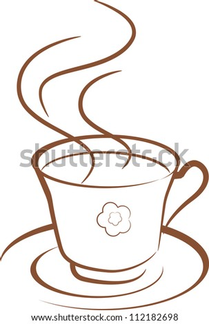 illustration of warm cup of coffee on white background  (coffee icon) - stock vector
