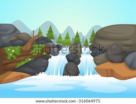 illustration of  waterfall