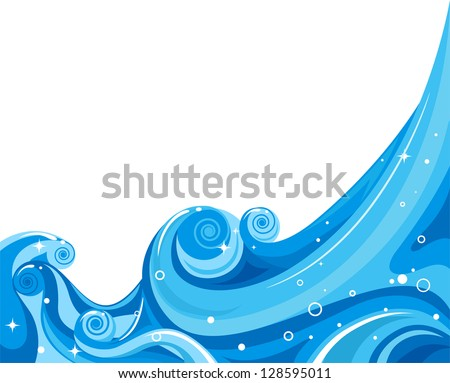 Illustration of Waves Splashing Against a White Background