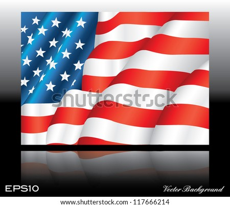 illustration of waving American Flag on dark background with mirror effect