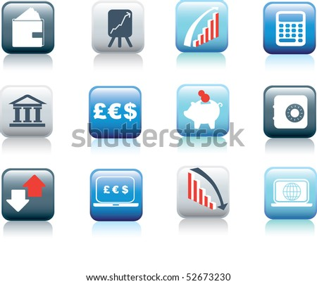 illustration of web buttons for finance and money