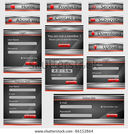 illustration of web template form with button in metallic style