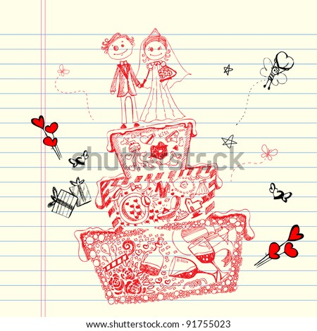 illustration of wedding cake in doodle style with different object