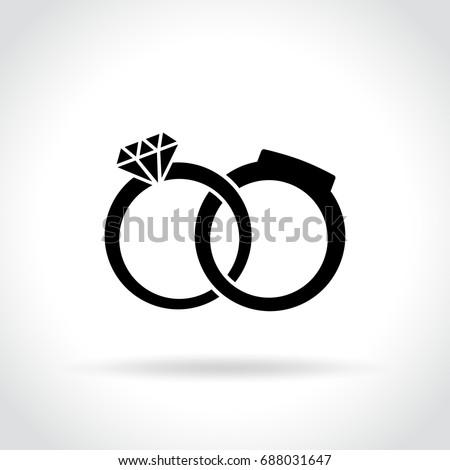 Illustration of wedding rings icon on white background