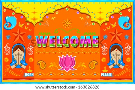 illustration of Welcome Background in Indian Truck paint style