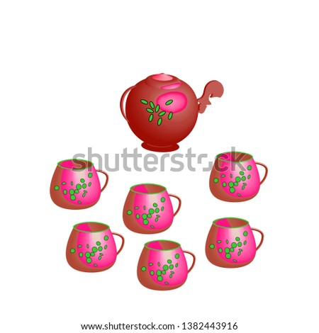 illustration of white background tea set Cup teapot red ornament ornament ornament bright interior vector graphic