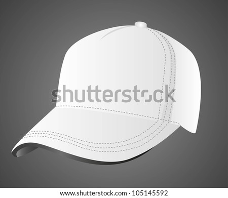 illustration of white cap, isolated on black background, vector illustration