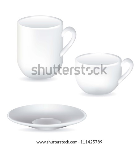 illustration of white porcelain cups and dish isolated on white background, vector illustration