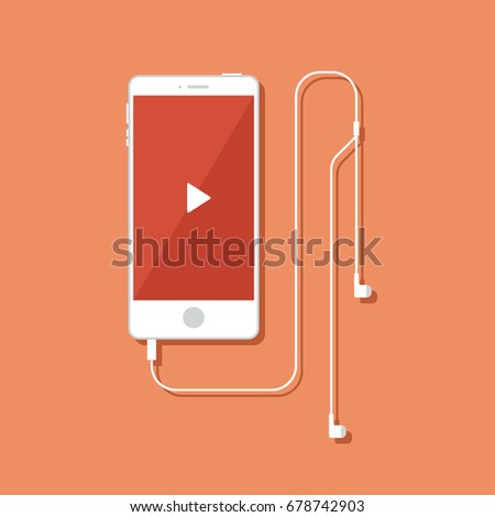 Illustration of white smartphone in flat style. Mobile phone with headphones. Music player interface.