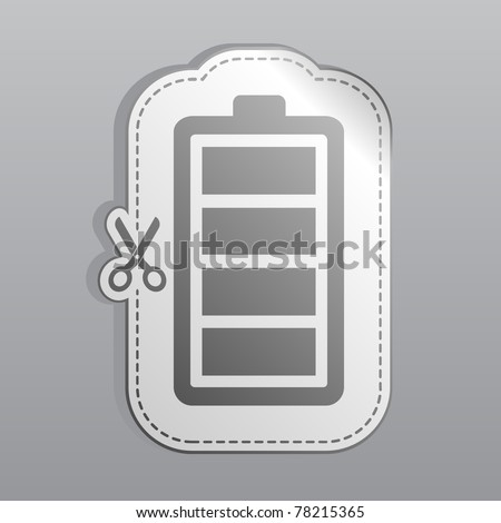 Illustration of white sticker battery icon