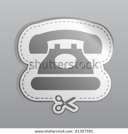 Illustration of white sticker phone icon