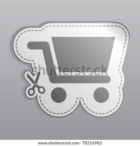 Illustration of white sticker shopping cart icon