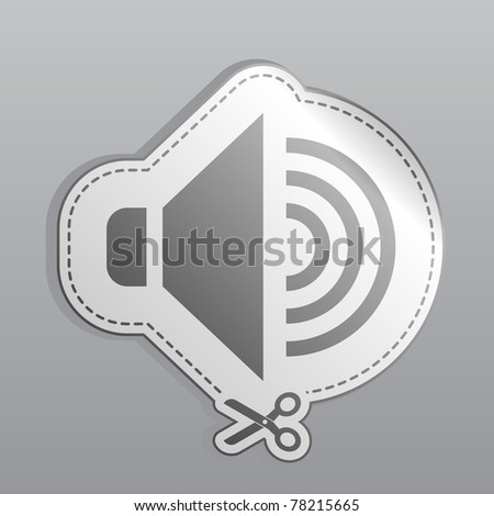 Illustration of white sticker speaker icon