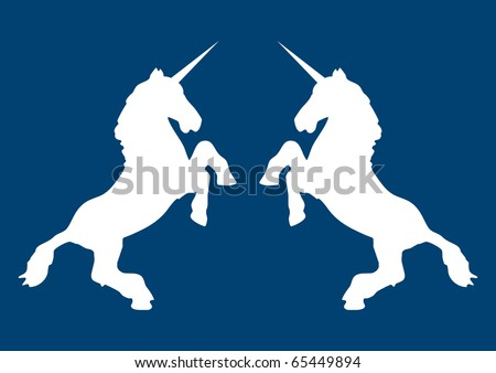 Illustration of white unicorns with a blue background