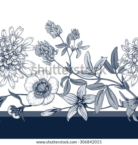 Illustration of wild field flowers. Vector seamless pattern. Floral ornament. Bells, buttercups, alfalfa. Vintage. Black graphics on a white background. #306842015