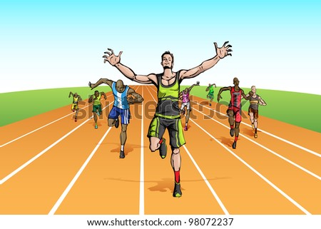 illustration of winner among many runner running on track