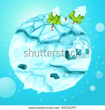 illustration of  winter earth with christmas tree on white