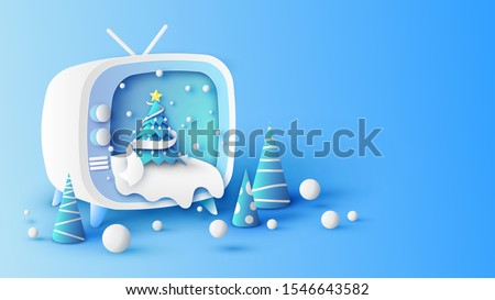 Illustration of Winter scenery and Christmas tree Inside retro television screen. Design retro television for Christmas festival. paper cut and craft style. vector, illustration.