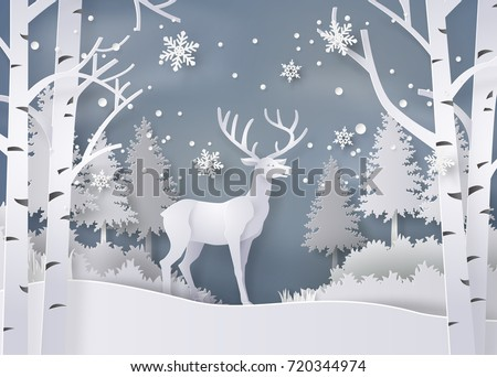 Illustration of winter season and Christmas day Deer in forest with snow.vector paper art  digital craft style.