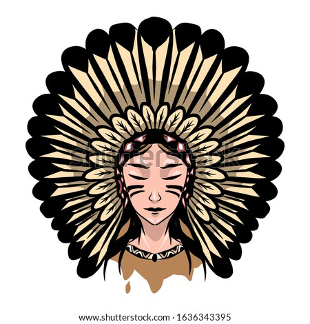 illustration of woman apache icon for tattoo design or t-shirt.apache girl logo for company